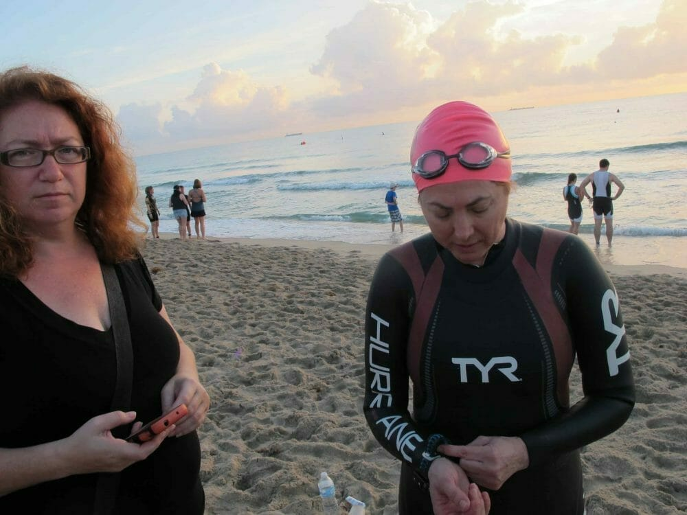 Hilary Topper getting ready to go in the swim start