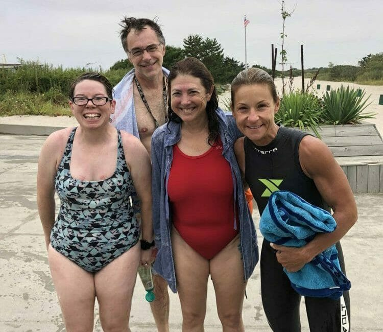 Jackie, Ray, Hilary and Lisa after open water