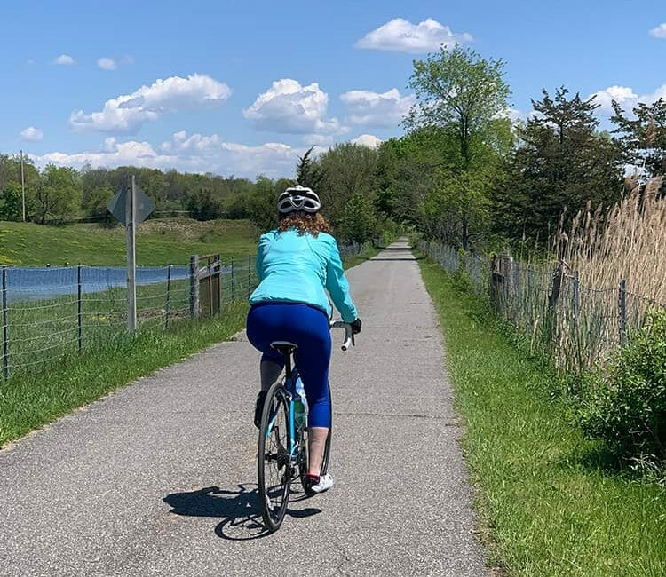 Hilary T riding the rail trail in Hudson Valley