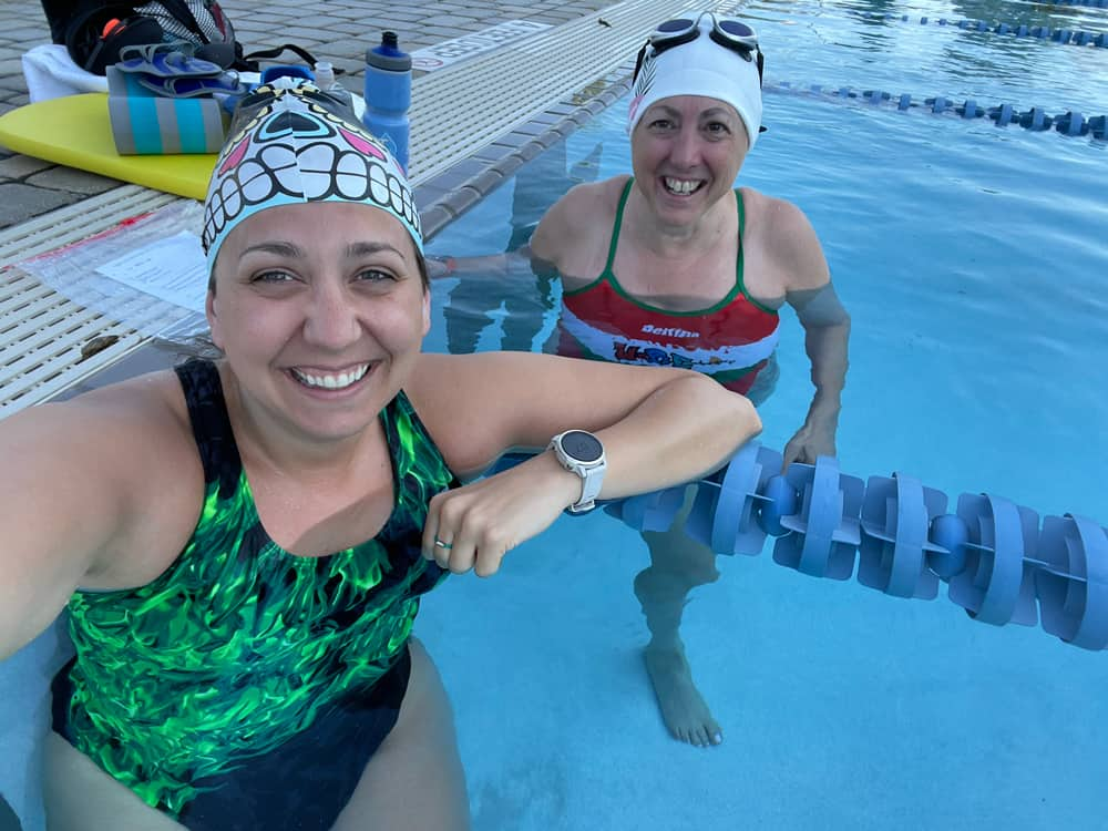 Kate Hughes and Hilary Topper at Lifetime Fitness Pool