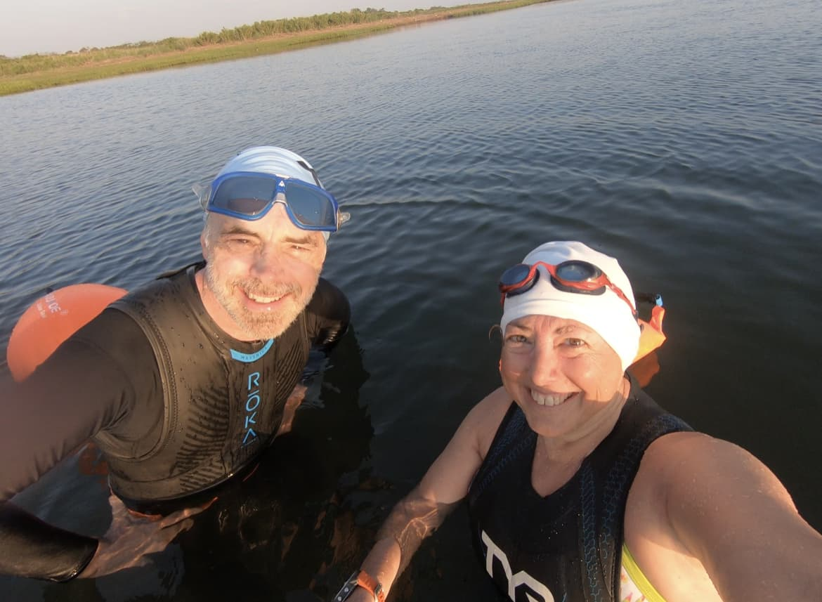 Ray and Hilary in the open water