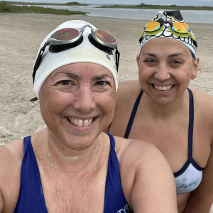 Hilary and Katie Jean after a 4 mile swim