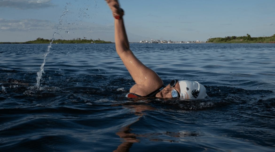Hilary topper swimming in open water