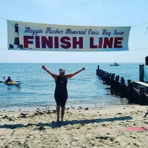 Hilary at the finish line