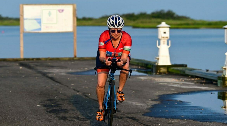 Hilary Topper on her TT bike